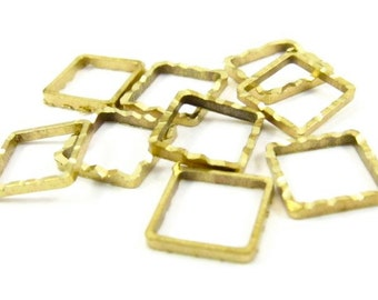 50 - Square Ribbed Brass Rings links or connectors - 8x8mm