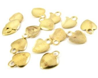 30 - Tiny Heart Shape Metal Charms .