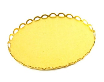 Brass Lace Edge Oval Settings - 40x30mm - 4