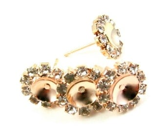 Rose Gold Plated Rhinestone Ear Post with Cup in Center - 6