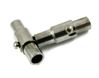 2 - Gunmetal Plated Brass Base Magnetic End Cap Tube Clasps - 15x4mm .