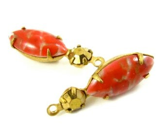2 - 23x7mm  Vintage Round and Navette Stones in 1 Ring Two-Stone Brass Prong Settings -  Gold and Red Matrix
