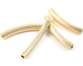 6 - Textured Gold Plated Curved Tubes Spacer Bar Links - 4x25mm .