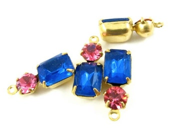 2 - Vintage Glass Octagon Stone and Swarovski Crystal in 1 Ring 2 Stones Brass Prong Settings - Sapphire & Rose Pink - 16x6mm