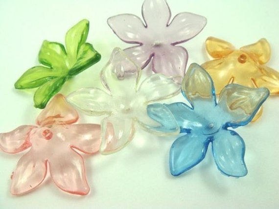 20 - Transparent Lucite Daffodils - Assorted Colors .