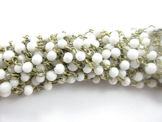 Vintage Beaded Chain  - White - 4mm - 2 Feet
