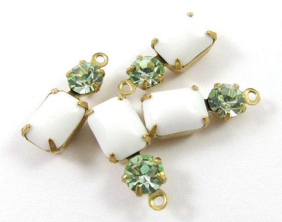 2 - Vintage Glass Octagon Stone and Swarovski Crystal in 1 ring 2 Stones Brass Prong Settings - Chalk White & Chrysolite - 16x6mm