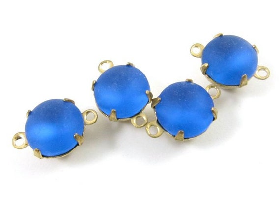 4 - Vintage Round Glass Stones in 2 Rings Closed Back Brass Prong Setting - Frosted Sapphire - 8mm .
