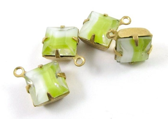 4 - 8x8mm Vintage Glass Square Givre Stones in 1 Rings Closed Back Brass Prong Settings - Yellow White .