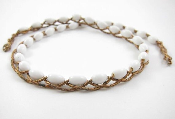 Vintage Braided Boston Link Chain with Beads - Chalk White - 1 pc