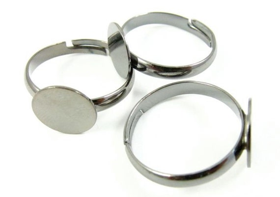 6 - Adjustable Gunmetal Plated Ring Blank with Glue on Pad / Base - 10mm .