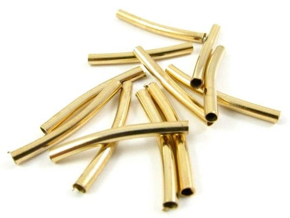 10 - Gold Plated Curved Tubes Spacer Bar Links  - 1.5x20mm