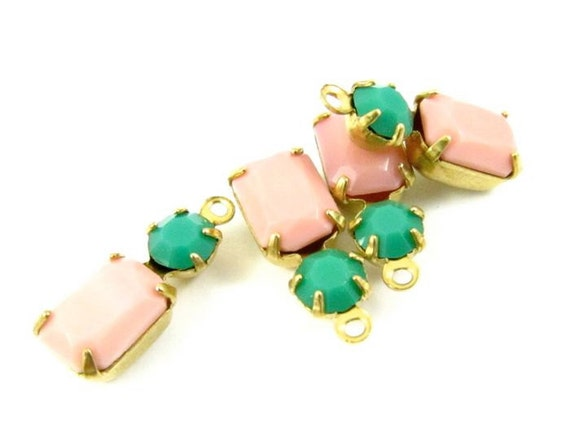 2 - Vintage Glass Octagon Set Stones Light Pink & Opaque Green Earring Dangles 1 Ring Brass Settings 16x6mm