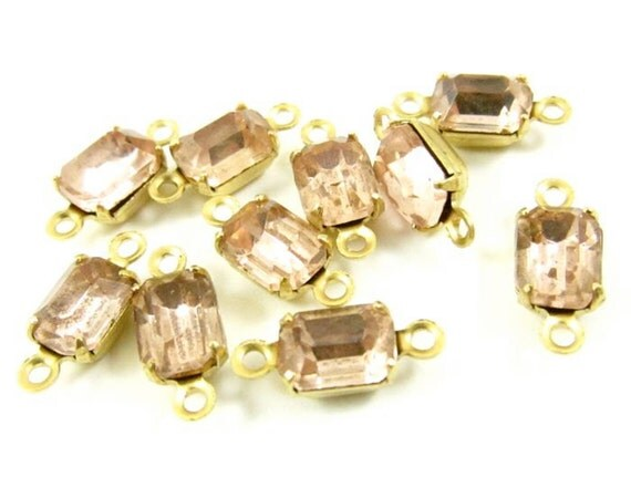 6 - Vintage Glass Octagon Stones in 2 Rings Closed Back Brass Prong Settings - Rosaline - 7x5mm