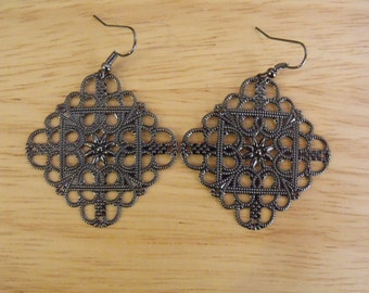 Gunmetal Filigree Earrings