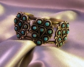 Vintage Zuni Bracelet, Turquoise & Silver, Native American