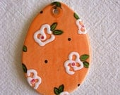 Floral flowered egg ornament or gift tag or garden party place card