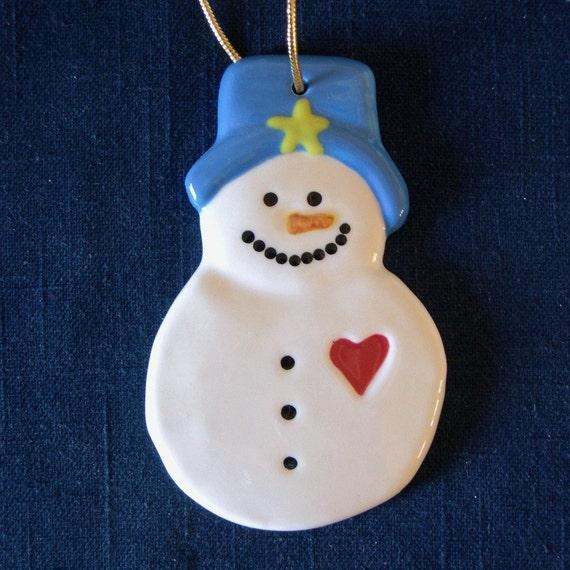 Snowman ornament ceramic christmas winter