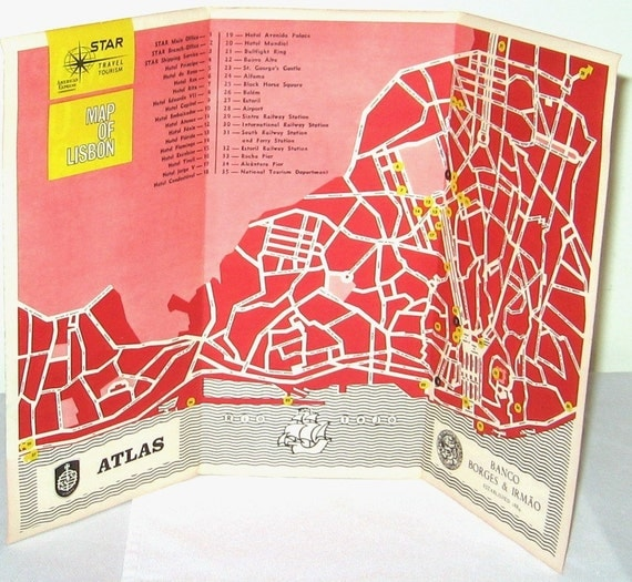 Vintage Lisbon Map Spain Travel Ephemera for Craft Projects Collage FREE USA SHIPPING