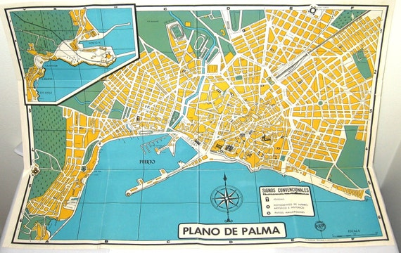 Vintage Palma de Mallorca Map Spain Travel Ephemera for Craft -> Vintage Möbel Palma De Mallorca