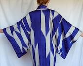 RESERVED Vintage Indigo and Silver Silk Kimono