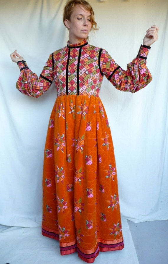 Late 60s Geoffrey Beene Couture Renaissance Revival Quilted Velveteen Gown Museum Quality