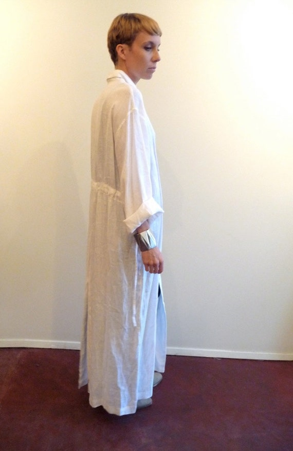 Long White Linen Duster Jacket
