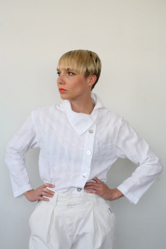 White Cotton Asymmetrical Blouse with High Funnel Collar