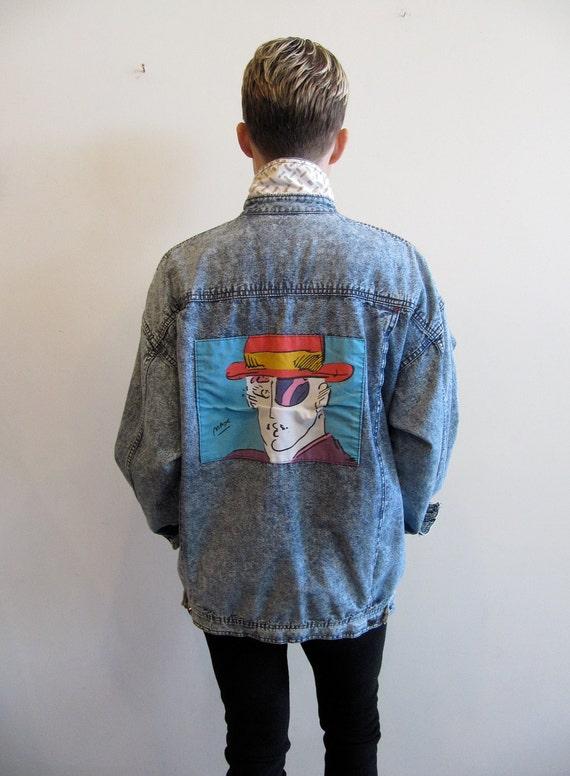 80s Peter Max Jacket / 80s Acid Washed Jean Jacket