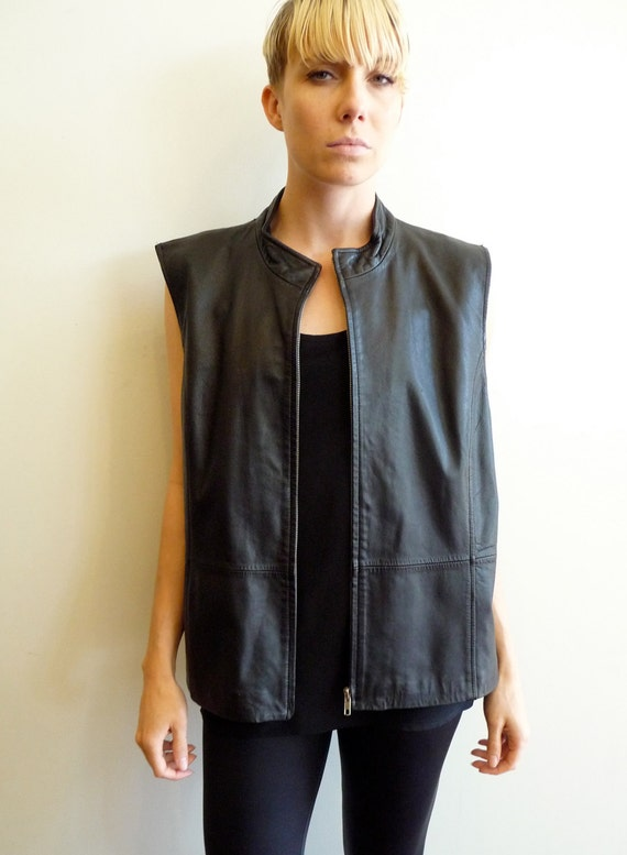 Black Leather and Knit Zip up Vest