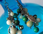 Through the Leaves (Amazonite Stones with Chrysocolla and Owl Charm Earrings)