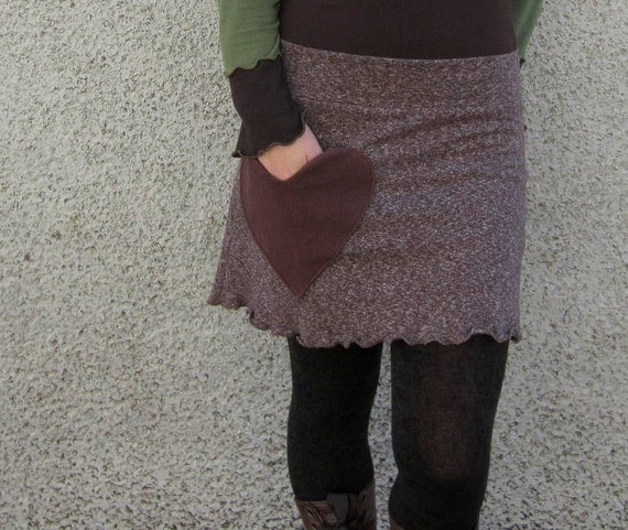 Chocolate Hearts Hemp Mini Skirt :Made to Order Sz. Sm Med Lg XL Eco Friendly Organic Cotton