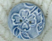 Large Embossed Cobalt Blue Textured Floral  Button...Uniquebuttons