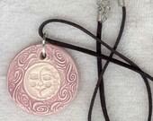 Handmade Lavender Sun / Moon Pendant...Unique Buttons