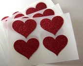 envelope seals - red hot glitter heart seals - stickers