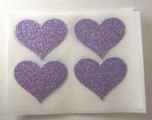 envelope seals - lavender glitter heart stickers