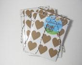 kraft heart stickers - set of 36