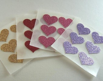 envelope seals - small red, pink, lavender and gold glitter heart stickers