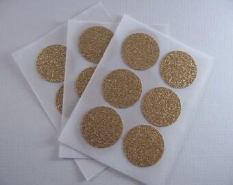 envelope seals - gold round glitter stickers
