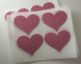 envelope seals - pink glitter heart stickers
