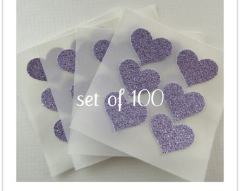 envelope seals - small lavender glitter heart seals - stickers - made to order