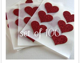 envelope seals - small red hot glitter heart stickers -  made to order
