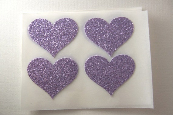 envelope seals - lavender glitter heart stickers