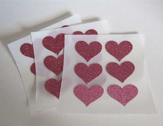 envelope seals - small pink glitter heart stickers