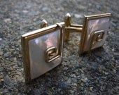 Vintage Gold Mother of Pearl Cuff Links