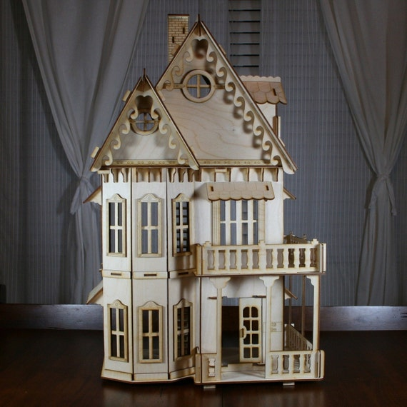 Victorian Gingerbread Dollhouse Baltic Birch Plywood Kit
