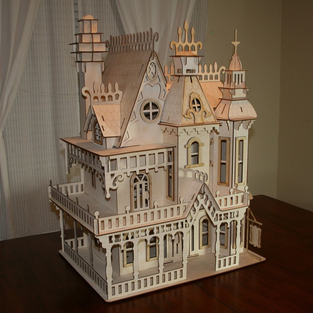 Large victorian dollhouse kit for Victorian style kit homes