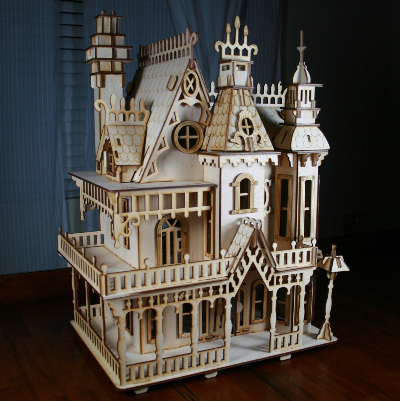 Victorian doll house birch plywood laser cut by for Victorian style kit homes