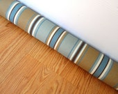 Draft Dodger, Stopper, Snake, Tulsa Terrace Home Decor Fabric in Blue and Brown Stripes. Insulated,  Customized by TheGardenAngel on Etsy