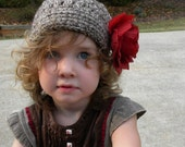 Clearance Sale Girls Holiday Red Rose Brimmed Crochet Hat size 2 to 4 years